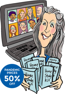 thumbnail line art of computer screen with Christina Merkley holding the home study kits