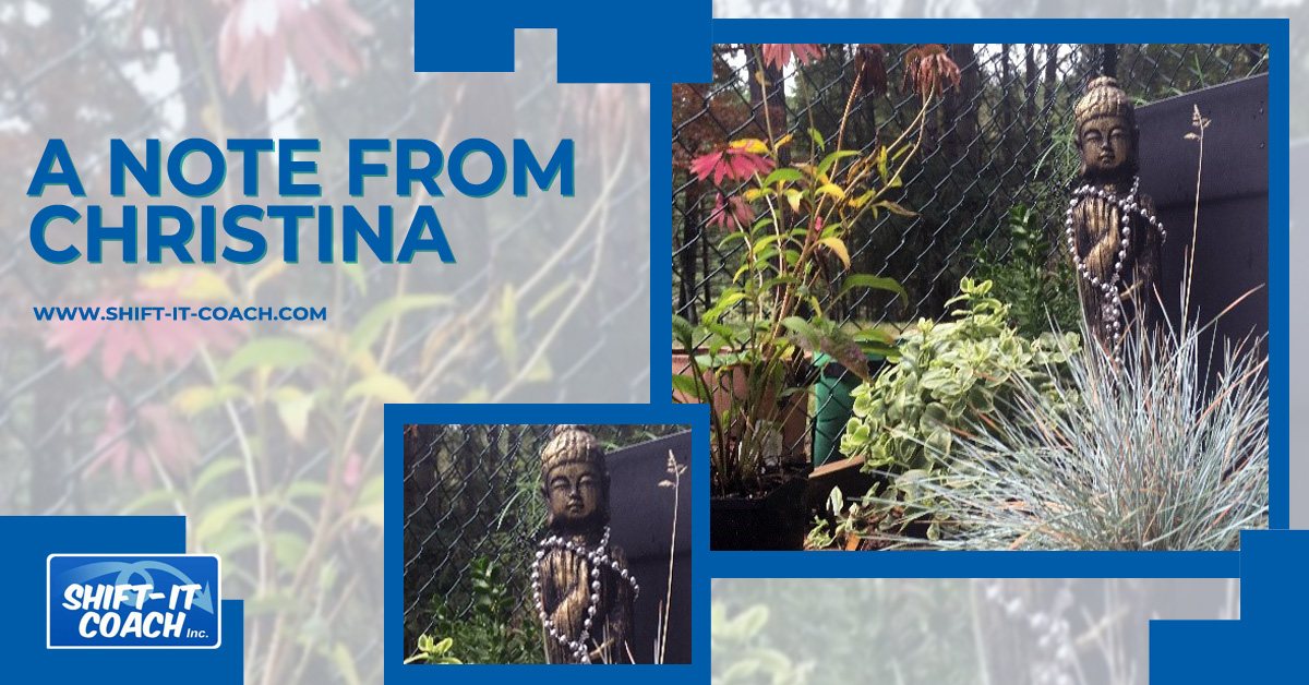 Christina Merkley's garden in Metchosin on Vancouver Island with resident Buddha statue
