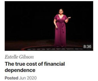 Estelle Gibson on the stage with TED Talks about the true cost of financial dependence