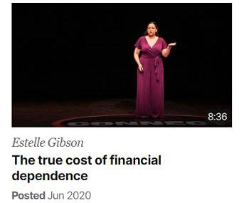Estelle Gibson on stage for TED talks on the cost of financial independence